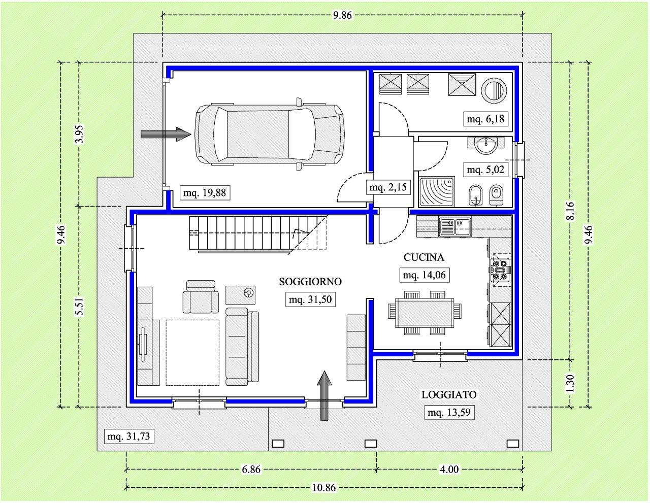 Progetti villette piano terra confortevole soggiorno for Progetti di case moderne a un solo piano