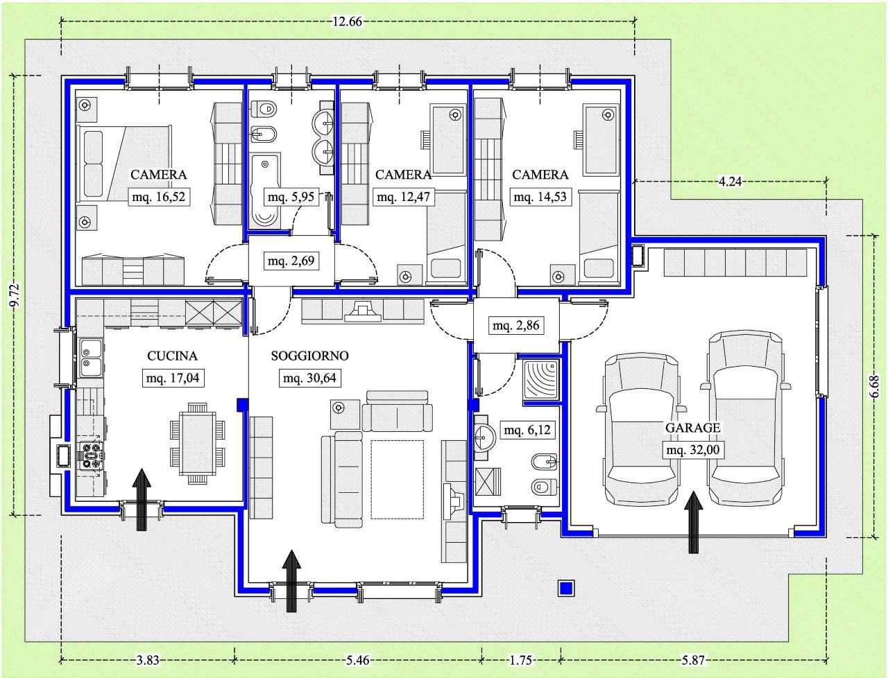 Case in xlam pomhaus s r l progetto villetta for Progetti case interni